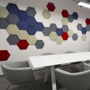 Panneaux acoustiques hexagonaux - dans un bureau 2.