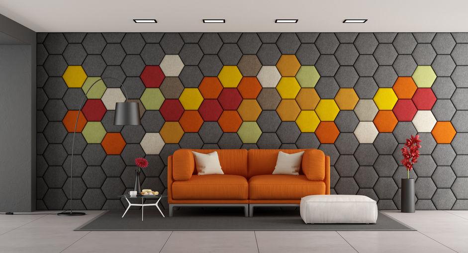 Panneaux acoustiques hexagonaux - sur le mur