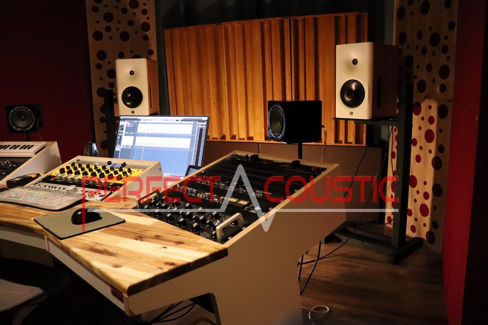 Studio professionnel de Peter. Qrd intégré, piège à graves pour élément d'angle et panneau acoustique du panneau avant du diffuseur.