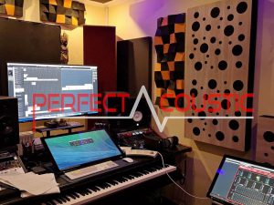 diffuseurs acoustiques dans un studio professionnel